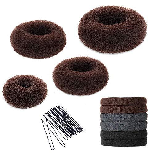 Hair Bun Maker Kit, YaFex Donut Bun Maker 4 Pieces(1 Large, 2 Medium and 1 Small), 5 Pieces Elastic Hair Ties, 20 Pieces Hair Bobby Pins, Brown