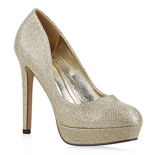 Damen High Heels Plateau Pumps Leder-Optik Braut Stilettos Abend Peeptoes Spitze Schuhe 130309 Gold Total 38 Flandell