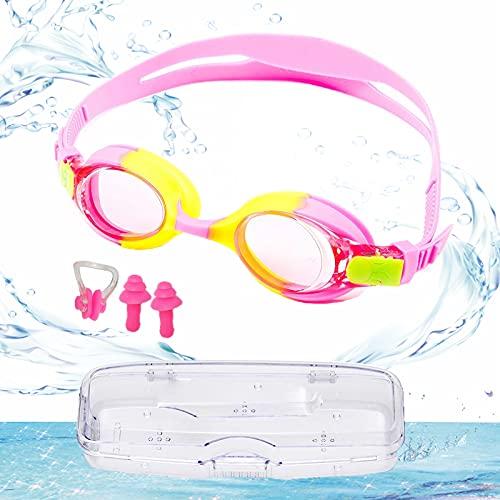 Gafas de Buceo Para Niños, Gafas Piscina Niños, UV Protegido Espejo Gafas Gafas de Buceo, Disponible Para Niños Y Niñas de 3 a 12 años. Con 2x Tapones Para Los Oídos, 1x Pinzas Para La Nariz