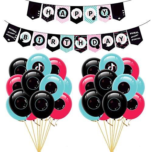 TIK Tok - Globos de fiesta, 25 piezas, tema de feliz cumpleaños, decoración de tartas de cumpleaños, pancarta, globo de látex