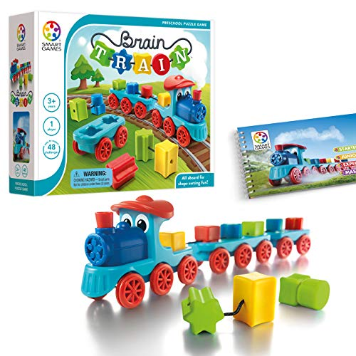 SmartGames Brain Train Board Game: A Puzzle Game & Brain Game + Toy Train for Kids, Cognitive Skill and Motor Skill Building Challenges, Ages 3+.