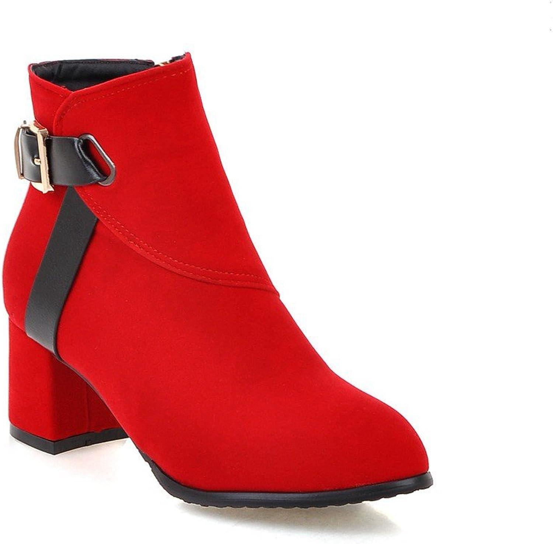 AIWEIYi Womens Belt Buckles Chunky High Heels Ankle Boots Black
