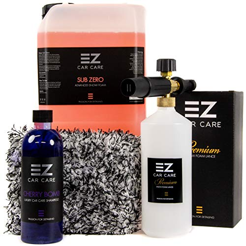 Snow Foam Lance Gun Kit + 5L Sub Zero Snow Foam With Cherry Bomb Shampoo and Microfibre Wash Pad by EZ Car Care (Bosch/RAC Alternate)