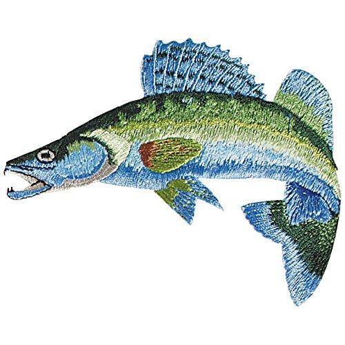 Aufnäher - Fisch Zander - 04534 - Gr. ca. 8 x 4 cm - Patches Stick Applikation