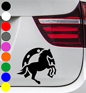 wDesigns Autoaufkleber Pferd Pony Hufeisen Tuning Aufkleber Sticker Decal 11x10cm