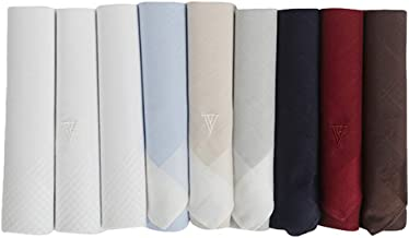 Van Heusen Men's Cotton Multi-Colored Handkerchiefs with Brand Logo Pack of 9