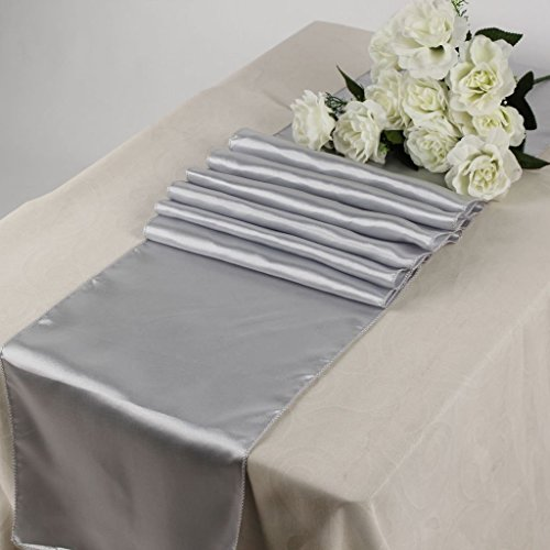 KING 10 Satin 12 x 108 inch Table Runner Banquet Wedding Party & Event -Light Silver Gray