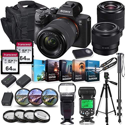 Sony Alpha a7 III Mirrorless Digital SLR Camera with 28-70mm & 50mm f/1.8 Lens Kit + Prime TTL Accessory Bundle...