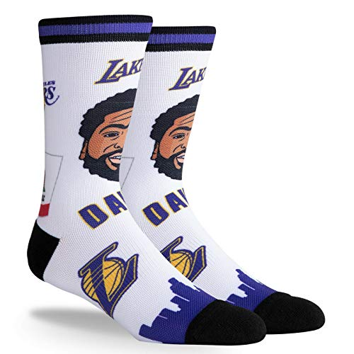 PKWY NBA Unisex Anthony Davis LA Lakers #3 1-Pack Pins Player Crew Socks (Large (Mens 6-12/Womens 7-13))