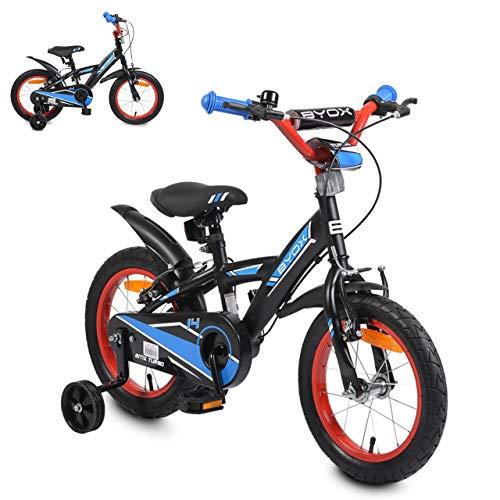Byox Kinderfahrrad 14 Zoll Turbo, Stützrädern, Klingel, Sattel einstellbar, Farbe:blau