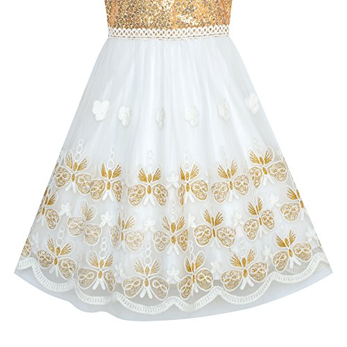 Sunny Fashion Girls Dress Gold Embroidered Halter Dress Party Size 12