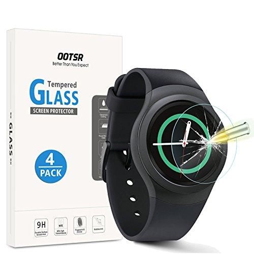 (4 Stück) OOTSR Panzerglas Schutzfolie für Samsung Gear Sport/Gear S2, Bildschirmschutzfolie für Samsung Gear S2 / Sport [Kratzfest] [Transparent] [Blasenfrei]