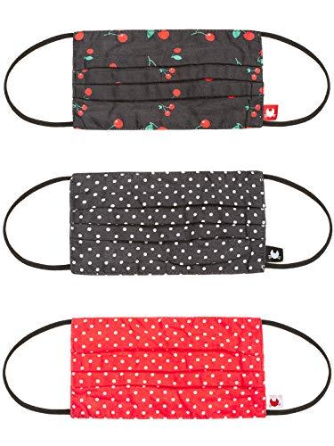 Pussy Deluxe Dots & Cherries 3 Pack Masken Set schwarz/rot, Größe:onesize