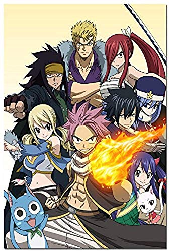 NATHALIE LANCASTER Fairy Tail Hot Anime Art Silk Fabric Poster 32x48inch Erza Scarlet Natsu