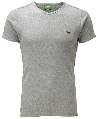 Duke London - T-Shirt En Coton Pour Hommes - Manches Courtes - Col V - Gris, S, 100% coton