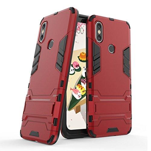 Funda para Xiaomi Mi 6X / Mi A2 (5,99 Pulgadas) 2 en 1 Híbrida Rugged Armor Case Choque Absorción Protección Dual Layer Bumper Carcasa con Pata de Cabra (Rojo)