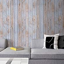 Wood Wallpaper Removable Shiplap Peel and Stick Wallpaper 17.71 in X 118 in Stick on Paper Self Adhesive Vinyl PVC Material Easy to Clean Used for Home Decoration and Furniture Renovation