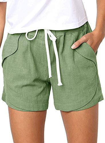 Shorts Damen Sommer Kurze Hosen Tunnelzug Elastische Stoffhose Solide Baumwolle Leinen Strand Shorts mit Taschen (262-Grün, Medium)