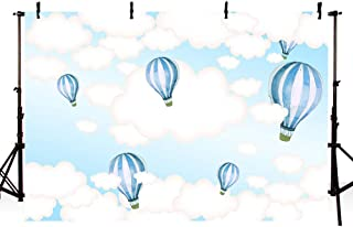 MEHOFOTO Hot Air Balloon Photo Studio Backdrop Props Kids Birthday Party Decorations Blue Sky and White Clouds Baby Shower Photography Background Banner 7x5ft
