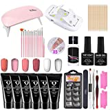 Maril Poly Extension Gel Nail Kit 6 Colores - Nail Gel Nail Enhancement Trial Kit Professional Nail Technician Kit francés Todo en uno con Mini lámpara de uñas para Nail Art Starter Kit richly