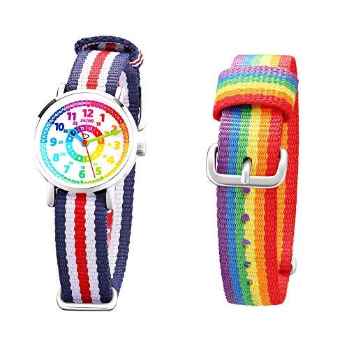 Kinder Armbanduhr Jungen und Mädchen - süße Quarzuhr mit modischem Nylon Armband und Lern-Ziffernblatt - Lernuhr analog, einfach zu lesen, zum Uhrzeit Lernen