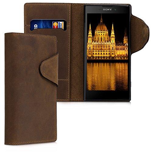 kalibri Hülle kompatibel mit Sony Xperia XA2 - Leder Handyhülle - Handy Wallet Case Cover in Braun