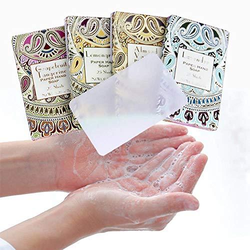 Blue Vesse Tragbare Seifenpapierblätter Mini Reisen Einweg Seife für Hände, Körper & Kleidung verwenden 50 Blätter Random Color