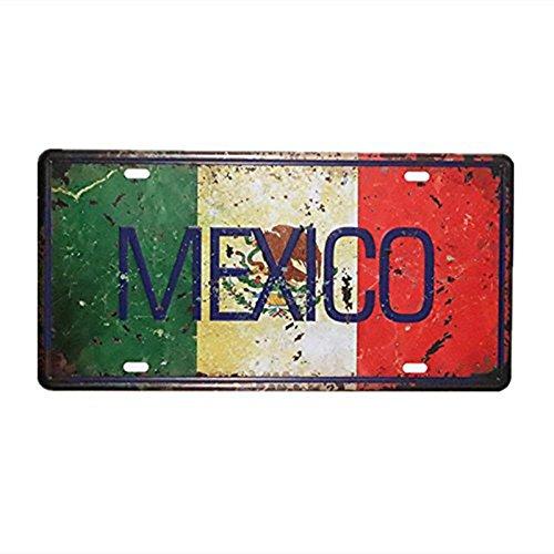 Shinewe MEXICO - Placa decorativa para matrícula de metal (15 x 30 cm), diseño vintage