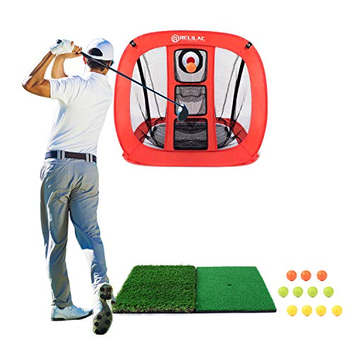 RELILAC Pop Up Golf Chipping Net - Indoor/Outdoor Golfing Target Accessories for Backyard Accuracy and Swing Practice - Great Gifts for Men, Dad, Husband, Women, Kid, Golfers (Net + Mat + 12Balls)