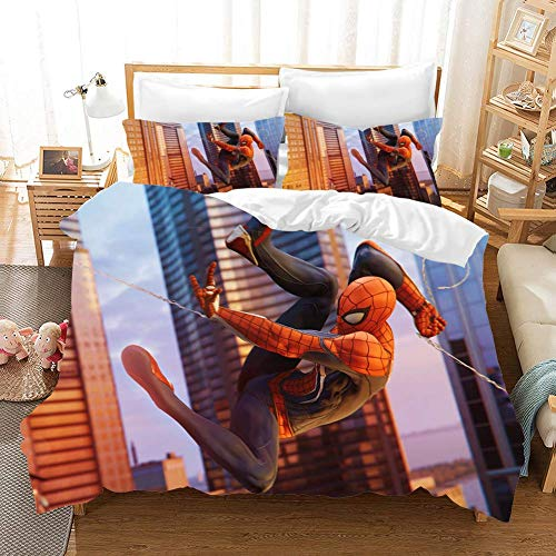 695 Duvet Cover Sets 3D Spider-Man: Homecoming Printing Child Adult Bedding Set 100% Polyester Gift Duvet Cover 3 Pieces With 2 Pillowcases F-GB Double79*79'(200 * 200cm)
