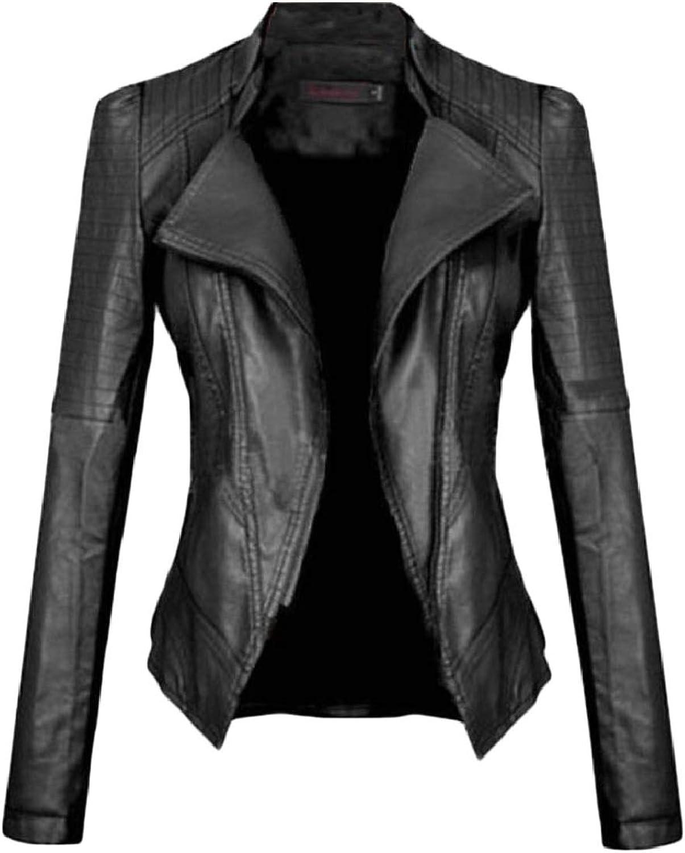 TymhgtCA Women Outerwear Fashion Stand up Collar Short FauxLeather Jacket