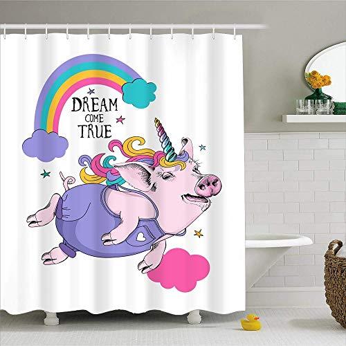 AYogg Duschvorhang Regenbogen 3D-Druck Wasserdicht Duschvorhang Polyester Cartoon Schwein Kaninchen Notizen Bad Vorhang Waschbar Home Bad Dekor Gardinen