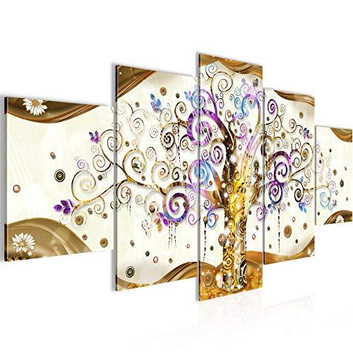 Runa Art - Quadri Gustav Klimt Albero Della Vita 200 x 100 cm 5 Pezzi XXL Decorazione Murale Design Colorato 003051a