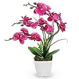 RERXN Flores artificiales decorativas de tacto real con macetas de cerámica para decoración del hogar y la oficina (rosa rojo)