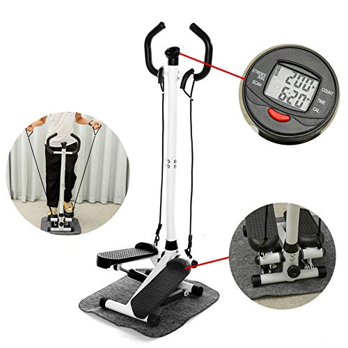 Mini Afvallen Multifunctioneel pedaal Fitness Steppers Stille hydraulische loopband met handgreep en LCD-monitor,White