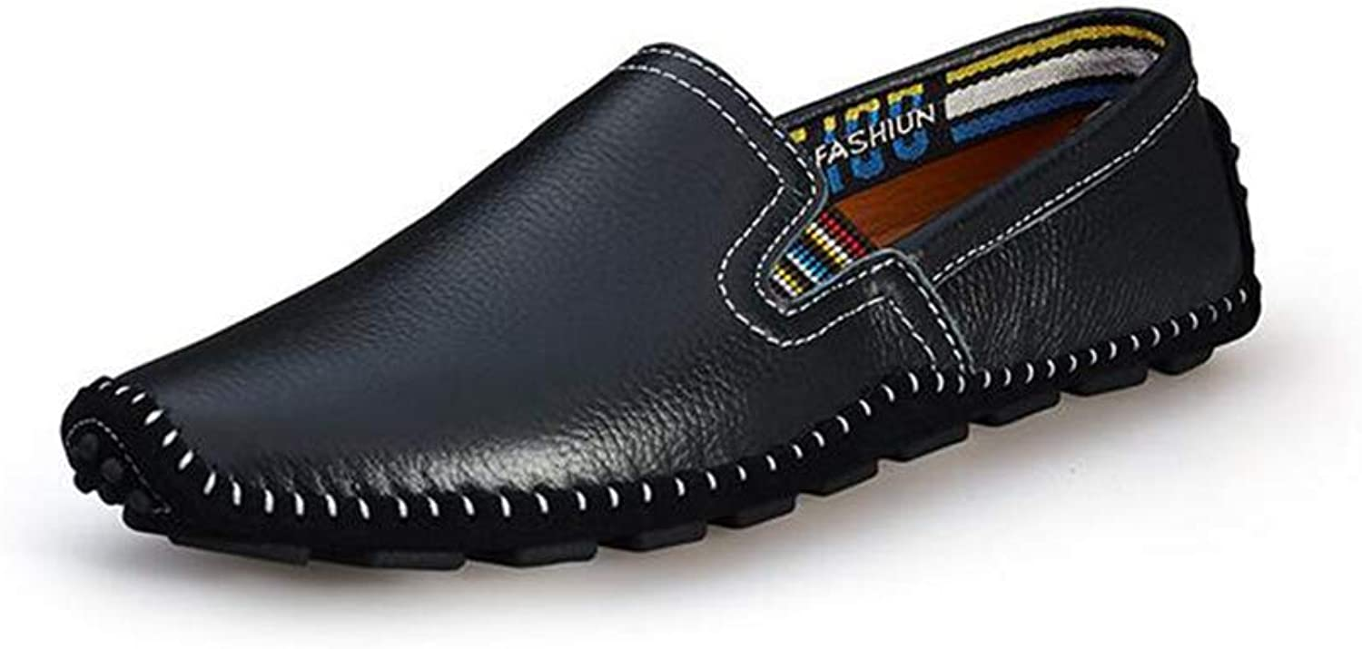 Y-H Men's Casual shoes, leather Light Soles Loafers & Slip-Ons Soft Sole Comfort Driving shoes Office & Career,black,47