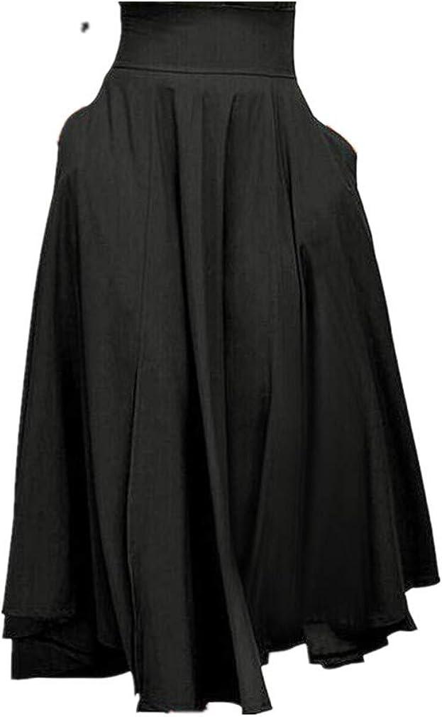 VEZAD Women's High Waist Pleated A Line Long Skirt Front Slit Belted Maxi Skirt