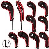 EDATOFLY 10 Pièces Capuchon de Golf Protection Club Golf avec Couvre Fer Golf, Long Cou Impression de Numéro et 1 Pièce Clubs de Golf Brosse (Noir + Rouge)
