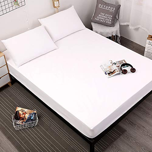 IUYJVR Waterproof Mattress Protector,Mattress Pad Cover Fitted 30cm Pocket Breathable Smooth Noiseless Soft Cover(Not Included Pillowcase) White 100x200cm(39x79inch)