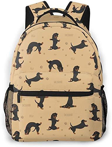 Mochila básica de viaje para portátil de fútbol de Brasil Cool School Bag-Yoga Dachshund Poses y Ejercicios