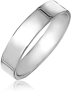 Minimalist Plain Simple 925 Sterling Silver Flat Couples Wedding Band Ring For Women For Men 4MM