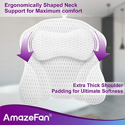 AmazeFan Luxury Bath Pillow, Ergonomic Bathtub Spa Pillow with 4D Air Mesh Technology and 6 Suction Cups, Helps Support Head, Back, Shoulder and Neck, Fits All Bathtub, Hot Tub, Jacuzzi and Home Spa