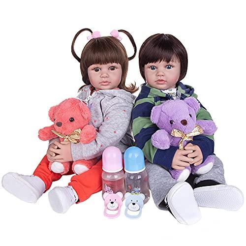 YIHANGG Muñecas Bebé Reborn Realistas 60 CM Cuerpo De Tela Muñeca Coleccionable Princesa Juguete para Bebés Recién Nacidos Cumpleaños para Niños Pequeños,Twins