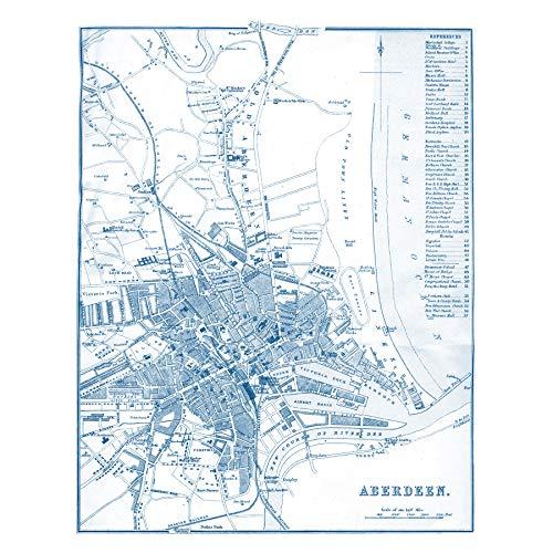 Map 1888 Aberdeen City Scotland Plan Chart Large Wall Art Poster Print...