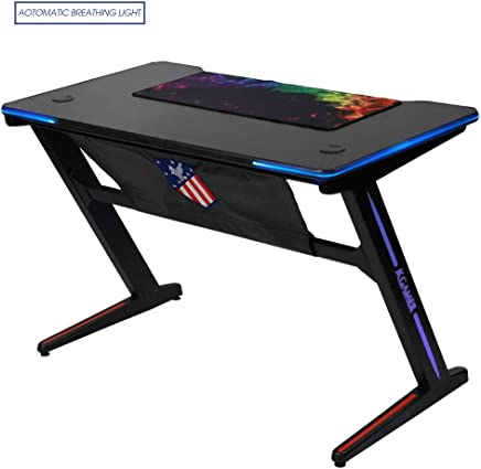 Kinsal [Upgrade] Z-Shaped Gaming Desk Computer Desk Table Fighting RGB LED Breathing Light with Free Mousepad, Racing Table E-Sports Durable Ergonomic Comfortable PC Desk (Black)