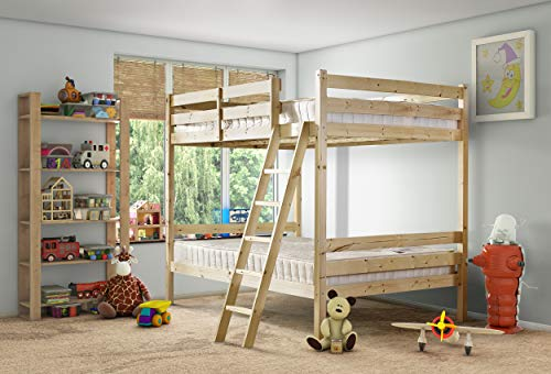 Strictly Beds and Bunks - Nepal Bunk Bed including Sprung Mattress (15 cm), 4ft 6 Double
