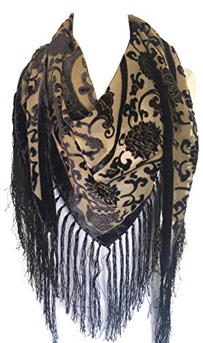 Taupe Women's Vintage Floral Velvet Triangle Shawl with Fringes