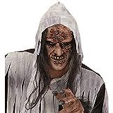 WIDMANN 00379?Máscara zombie/Bruja a medio Viso con pelo, adulto talla única