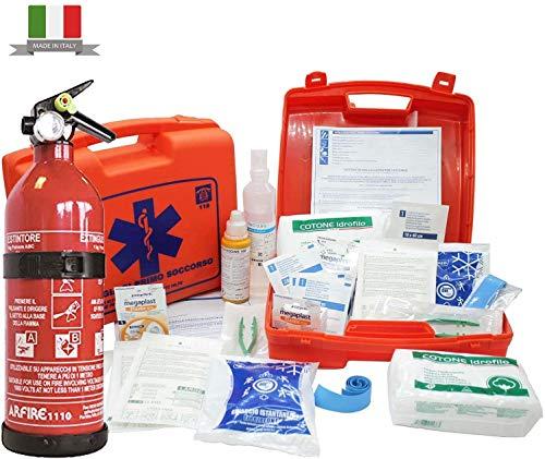 Firstmed - Kit Pronto Soccorso Medico per Aziende fino a 2 dipendenti con Ghiaccio Pronto uso per Casa, Auto, Campeggio e Ufficio + Estintore omologato da 1 Kg - Made in Italy