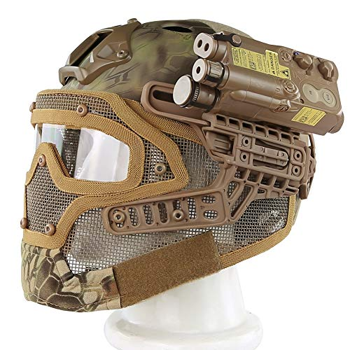 MAKE FINE Camouflage Helm G4 System Full Cover Verstellbarer Helm PJ Typ Action Version Outdoor Helm Paintball Schießausrüstung,1
